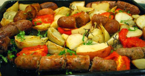 Baked Sausages with Potatoes and Tomatoes