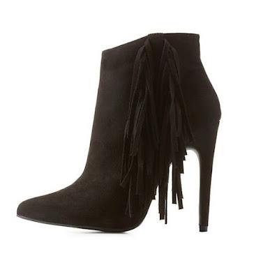 Qupid black fringe stiletto booties