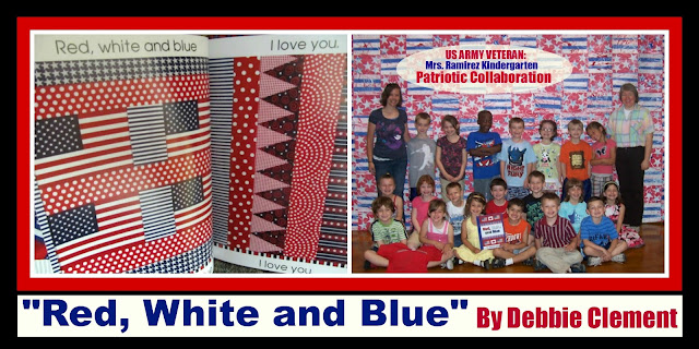 "photo of: Kindergarten Collaborative Quilt in Response to ""Red, White and Blue"""