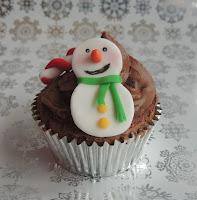 Cupcake Navidad: Muñeco de Nieve