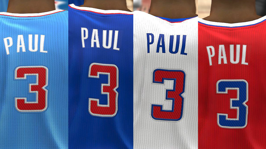 NBA 2K14 Clippers Realistic Jersey Texture