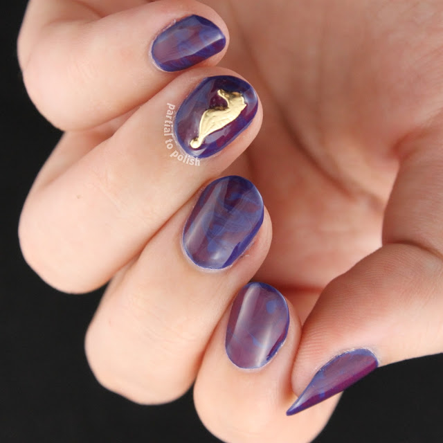 Navy & Purple Dry Marble with Some Hex Nail Jewelry