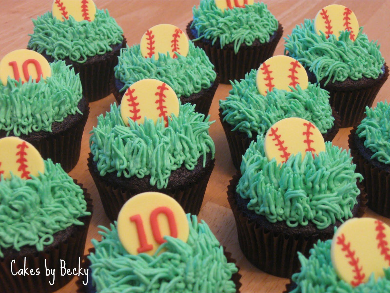 Cakes By Becky Softball Birthday Cupcakes