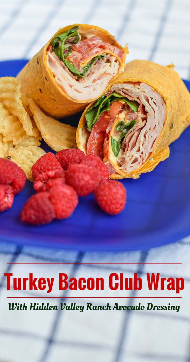Looking to get out of a sandwich rut? Try this delicious Turkey Bacon Club Wrap Featuring Hidden Valley Ranch Avocado Dressing! #WhatsYourRanch #collectivebias #sandwich #wraps #lunch #ad