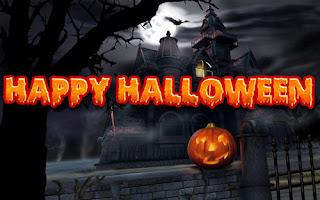 imagen de una casa de horror con una calabaza en el dia de halloween
