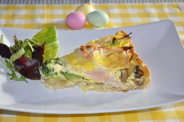Påskepai med kylling pålegg og brokkoli
