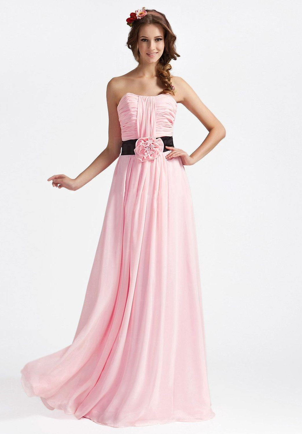 Whiteazalea bridesmaid dresses romantic pink bridesmaid for Long strapless wedding dresses