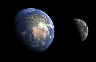 Земля и Марс в архейскую/гесперийскую эру в масштабе.