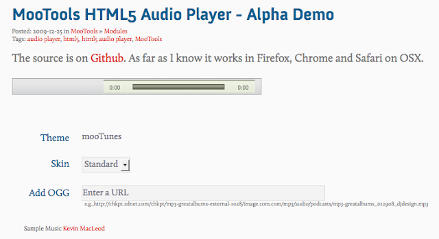 MooTools HTML5 Audio Player