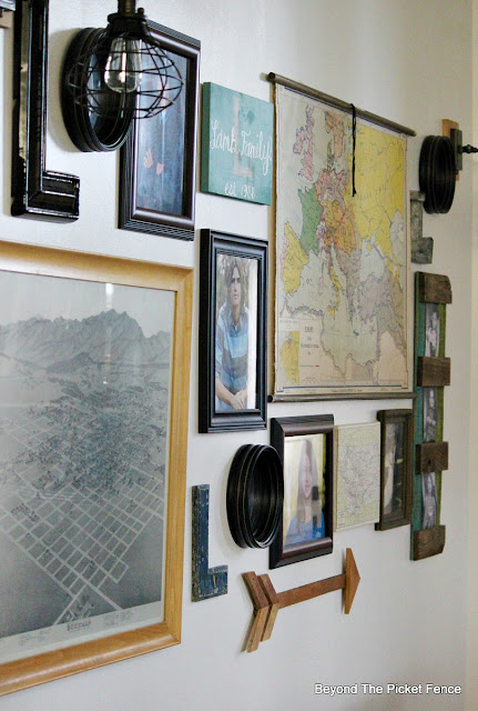 vintage map, gallery wall, marquee letter. wall sconce, oil rubbed bronze, http://bec4-beyondthepicketfence.blogspot.com/2015/10/gallery-wall-with-awesome-light-sconces.html