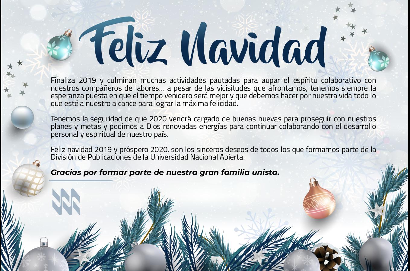 Feliz Navidad les desea la División de Publicaciones