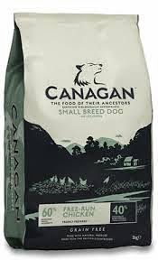 A bag of Canagan dog food