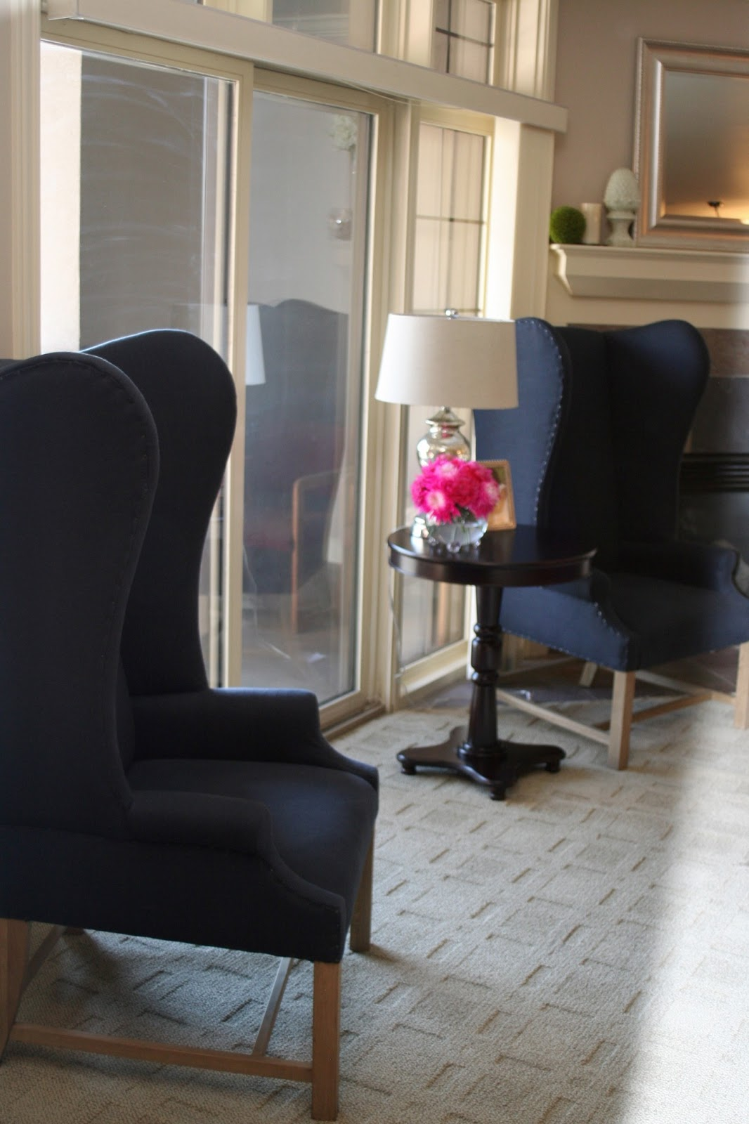 Navy Wingback Chairs: The French Upholstered Wing Chair From Restoration  Hardware Large Turquoise Pillow: Four Chairs Furniture