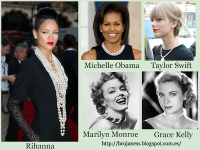 Rihanna Michelle obama Marilyn Monroe Grace kelly Taylor Swift wearing pearls llevando perlas famosas famous