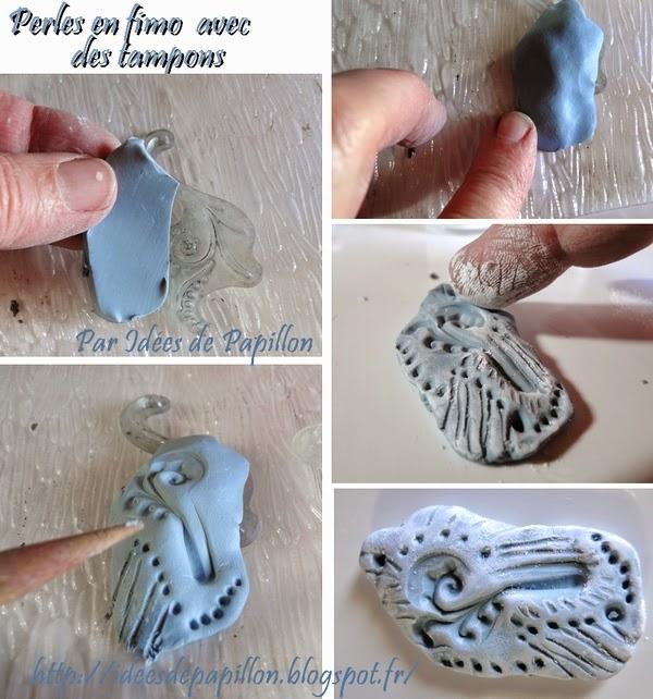 Exceptionnel Idées de Papillon: Faire des perles plates en fimo avec des tampons QU85