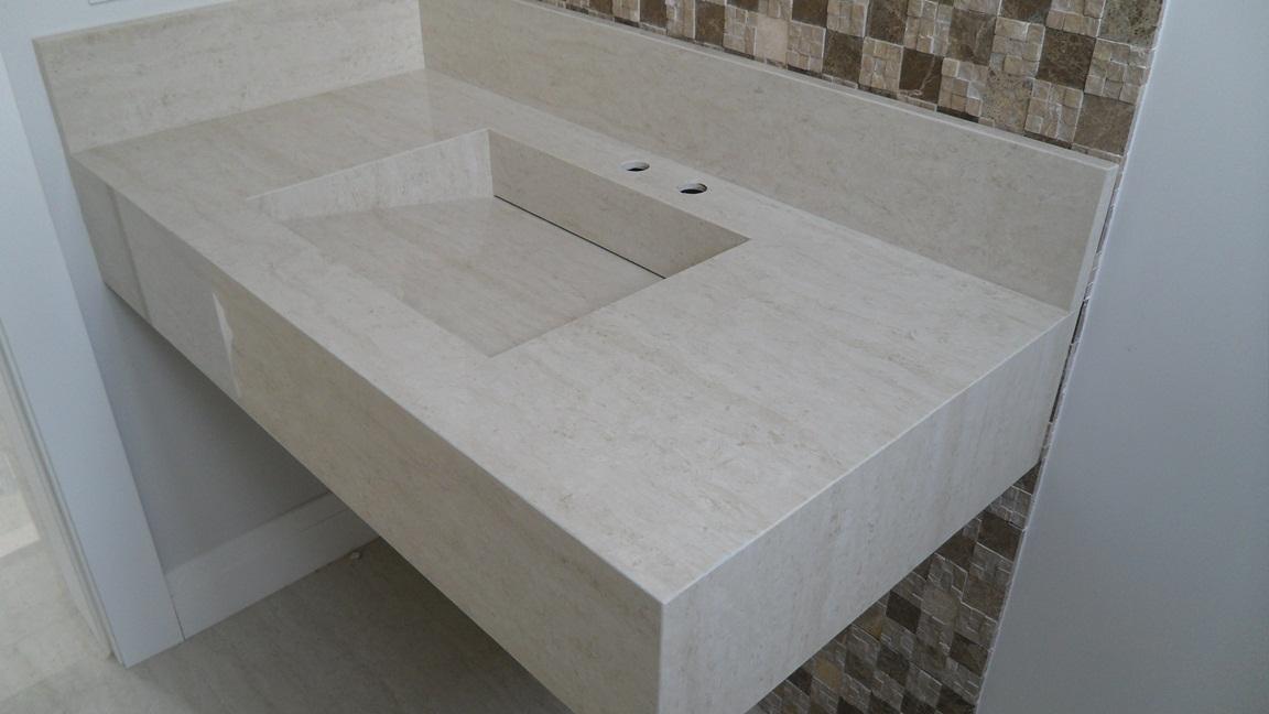 Bel Taglio , cortes especiais em porcelanato Bancada com cuba em porcelanat -> Cuba Para Banheiro Roca