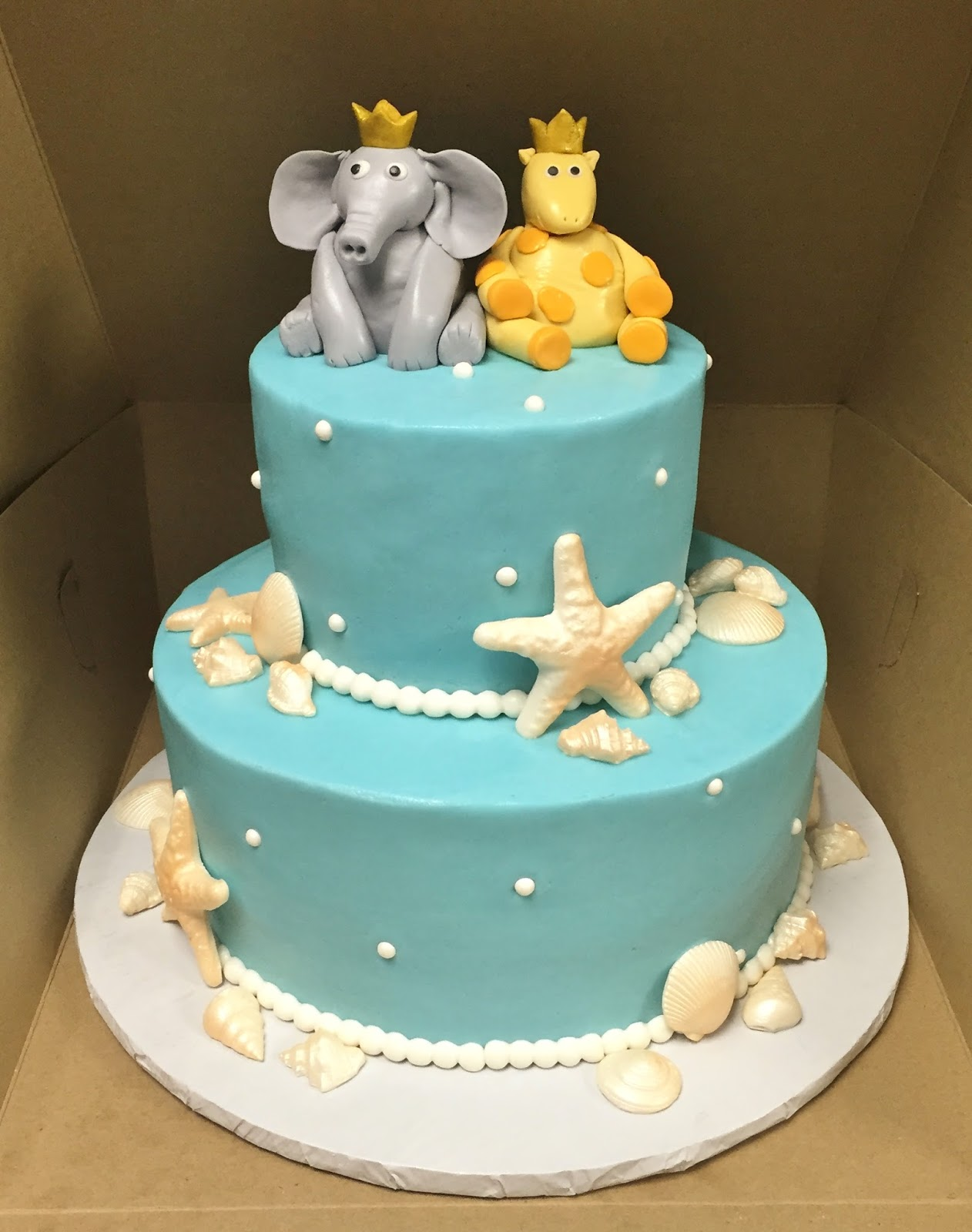 """Cakes by Mindy Beach Themed Bridal Shower Cake 6"""" & 10"""