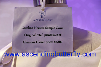 Carolina Herrera Sample Gown from Glamour Closet Designer Wedding Dresses at the Wedding Salon Bridal Tradeshow/Expo, New York City, Sticker, Price Tag