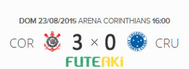 O placar de Corinthians sx0 Cruzeiro pela 20ª rodada do Brasileirão 2015