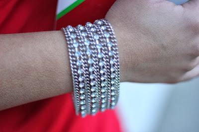 Rhinestone and Chain Bracelet Forever 21