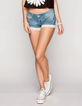 Crochet Trim Shorts by Almost Famous