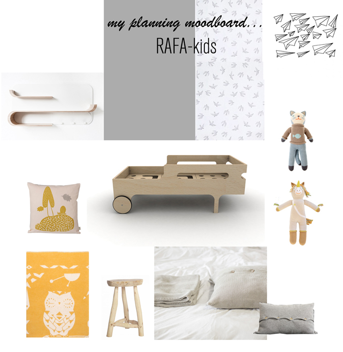 moodboord Rafa-kids toddler room with orange&grey