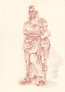 British Museum Mausoleum Halikarnassos red chalk drawing