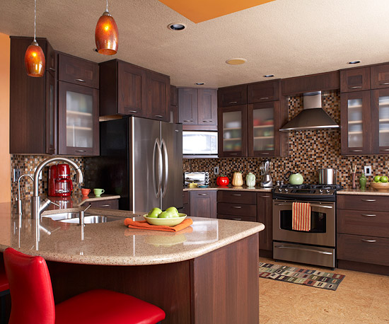 Red to Break the Monotony of Brown in Kitchen