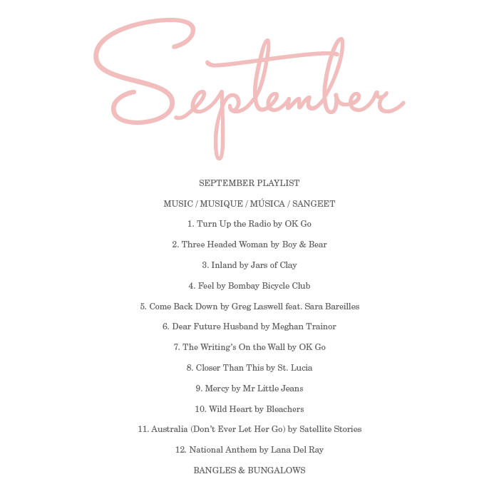 September Playlist 2014 | Bangles and Bungalows
