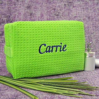 Personalized Lime Green Quilted Cosmetic Bag