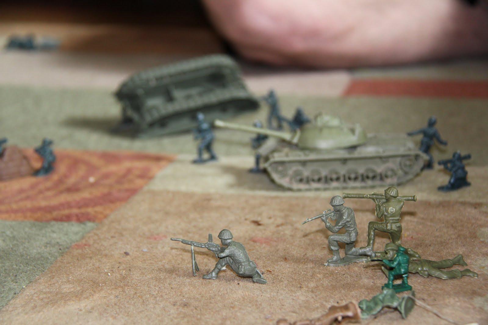 boys playing army