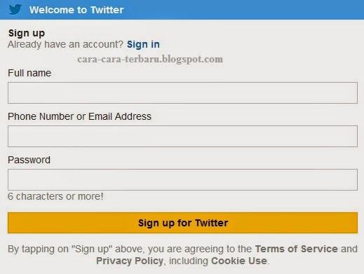 cara membuat twitter di hp, twitter
