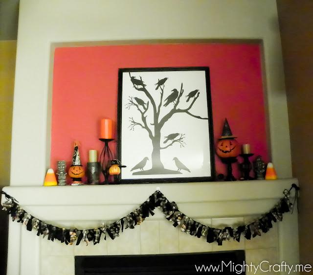 Halloween Mantel - www.MightyCrafty.me