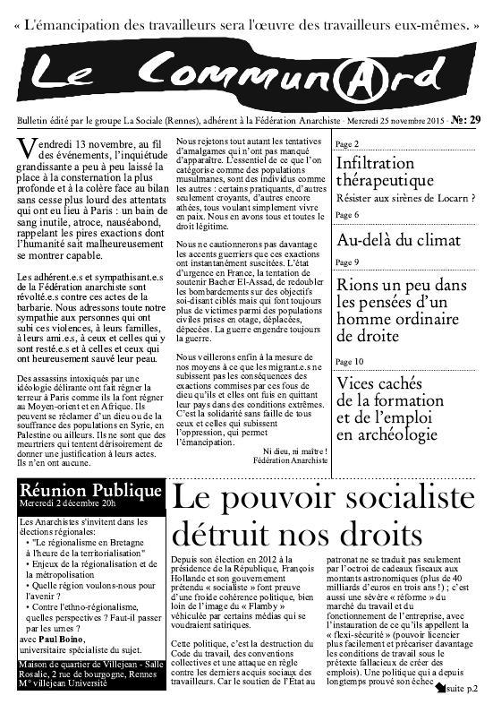 première page du Communard n°29