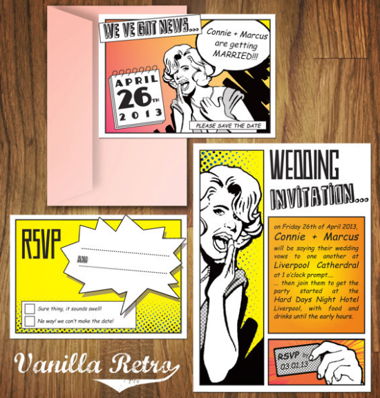superhero wedding stationery, vanilla retro etsy