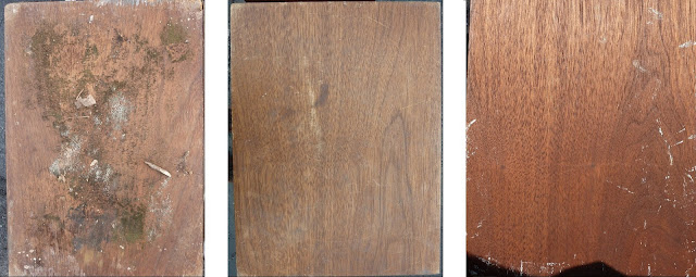 cabinet veneer before and after sanding restoration