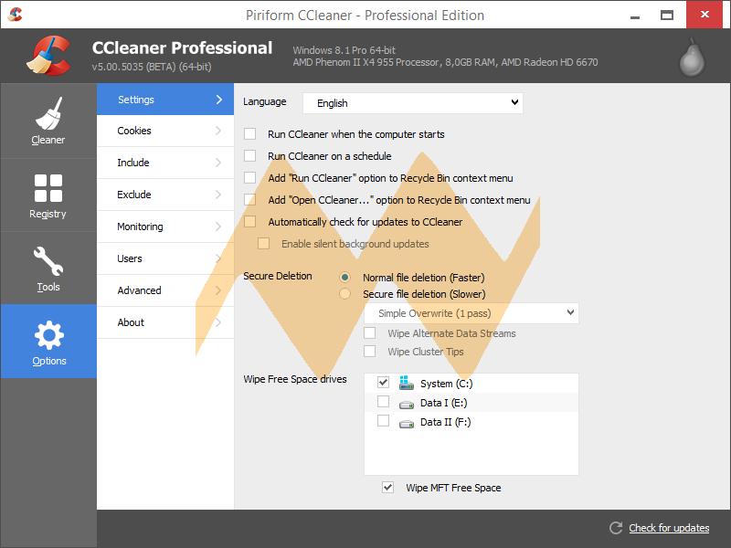 CCleaner Professional v5.00 Full Crack