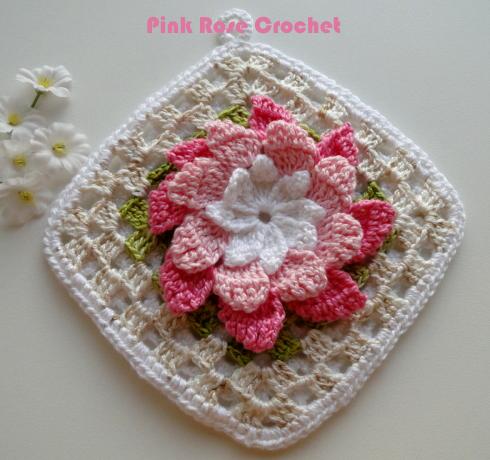 crochet cute floral motif hook. Black Bedroom Furniture Sets. Home Design Ideas