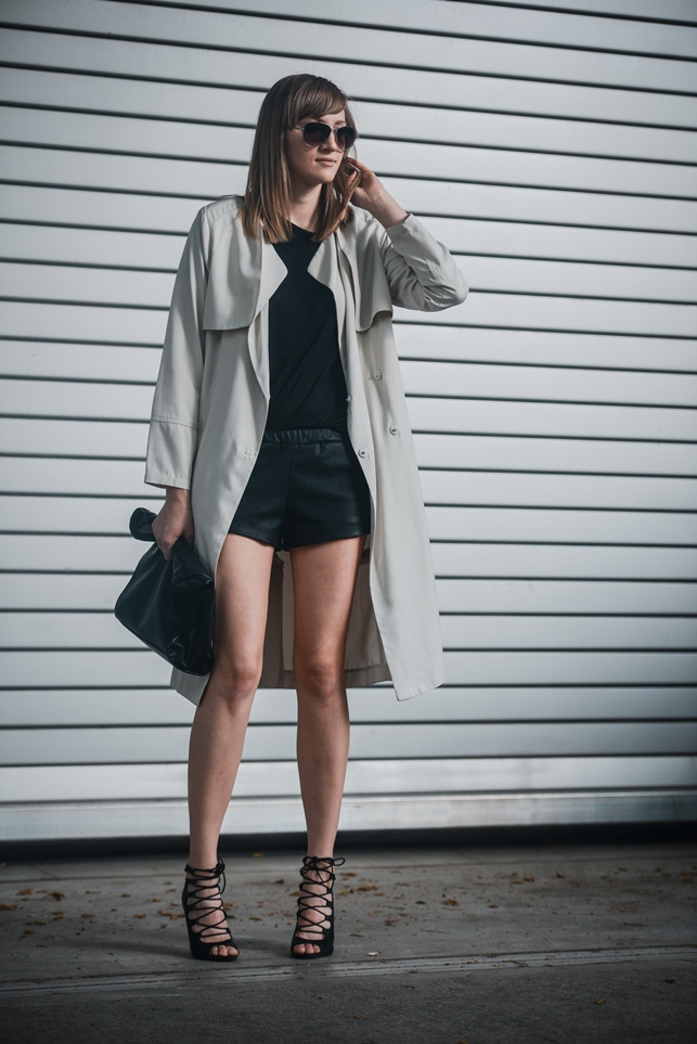 zara leather shorts, hm long beige trench coat, lace up heels, style blogger, fashion blog, slovenski modni blog