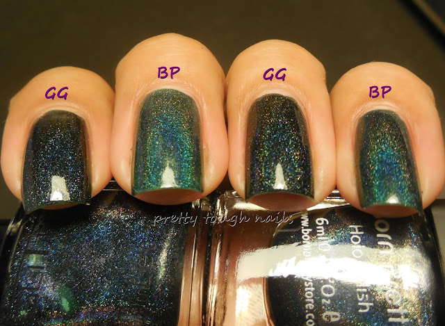 Born Pretty Store Dark Green #12 vs Glitter Gal Lizard Belly