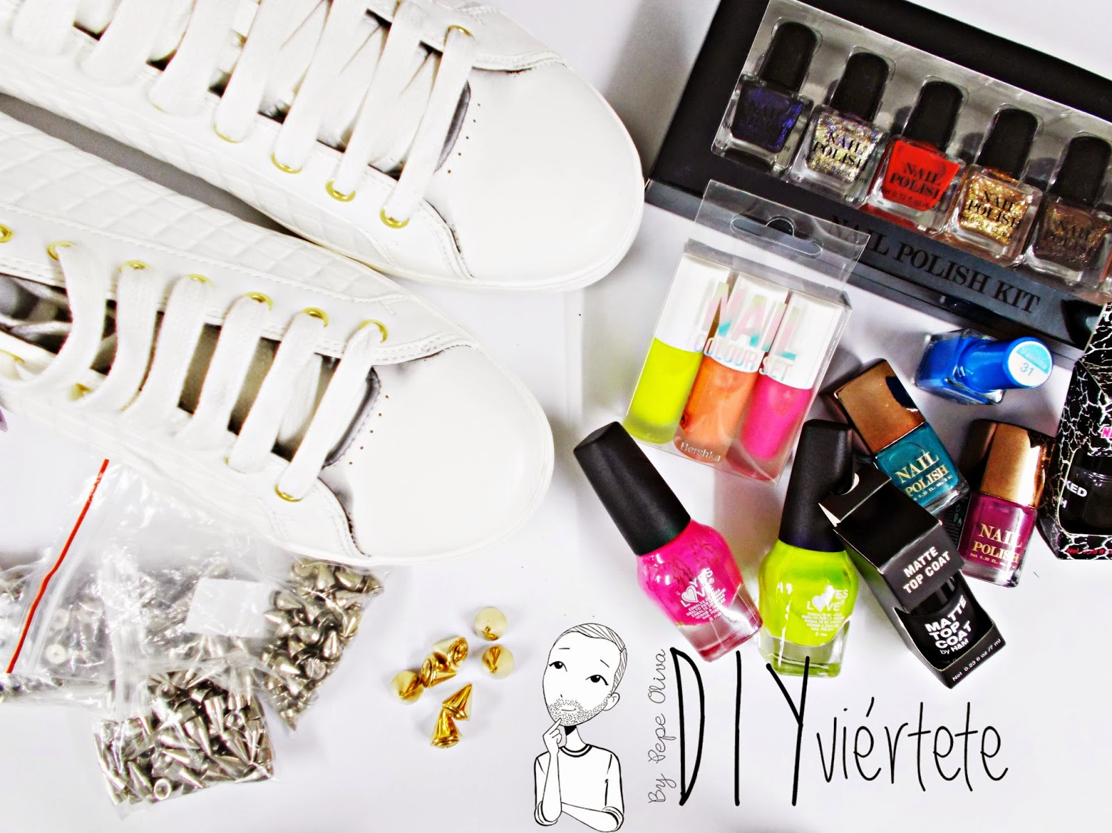 DIY-zapatillas-tunear-customizar-CHRISTIAN-LOUBOUTIN-zapatos-pinchos-esmaltes-pinta uñas-colores-4