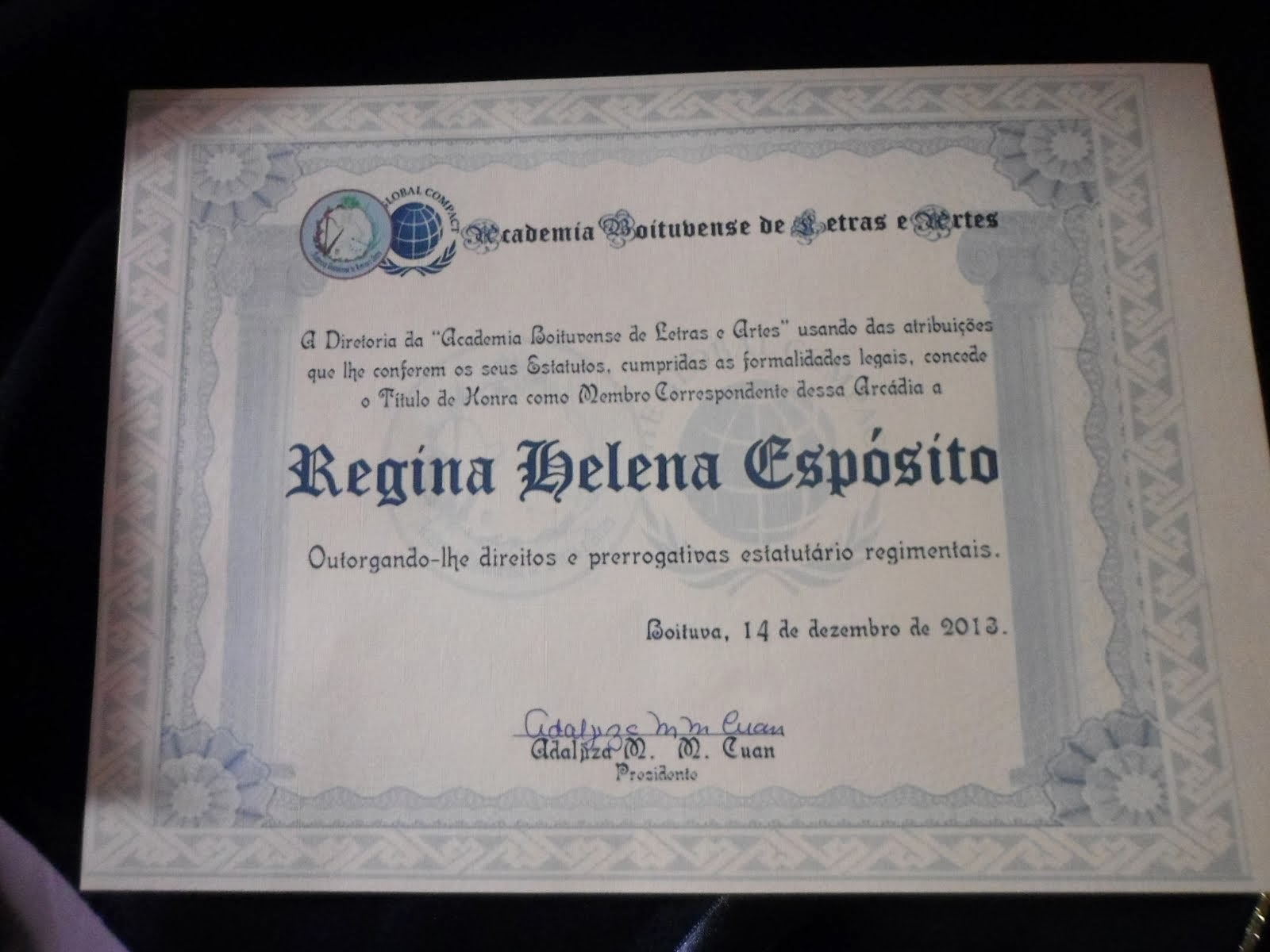 Meu certificado de Posse Acadêmica pela Abla-Academia Boituvense de Letras e Artes...
