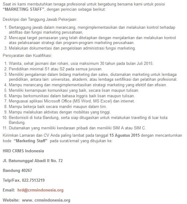 Info Lowongan Kerja Di Bandung Informasi Lowongan Kerja