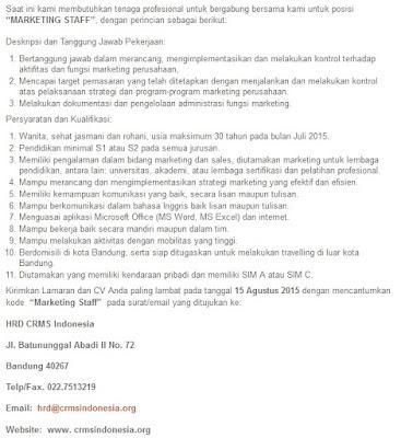 Lowongan kerja resmi CRMS Indonesia