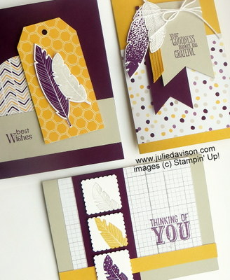 Stampin' Up! Four Feathers Cards for November 2014 Stamp of the Month Club Card Kit #stampinup www.juliedavison.com/clubs