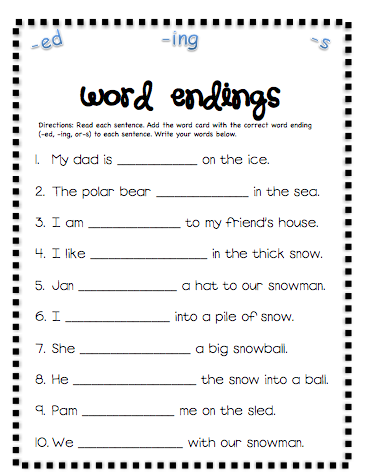 Pictures Inflectional Endings Worksheet - Studioxcess