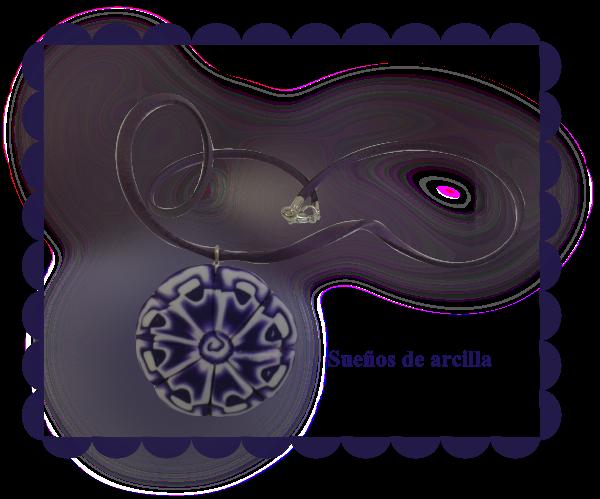 colgante espiral malva en arcilla polimérica