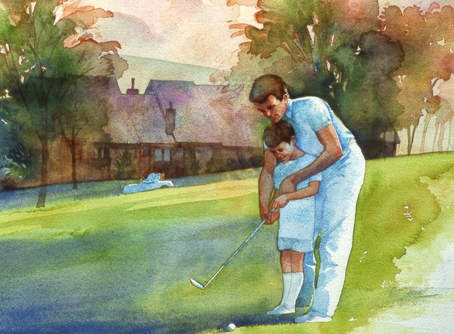 Robert Gantt Steele illustration of father and son golfing