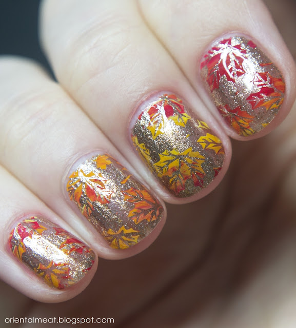 autumn leaves nail art stamping