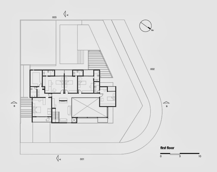 First floor plan of Modern Atenas 038 House by Dayala + Rafael Arquitetura